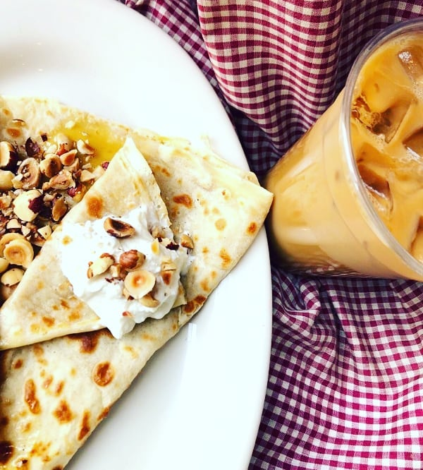 Who's tried the honey'd hazlenut? Carmelized honey, toasted hazlenuts and topped with Greek yogurt. It masquerades as sweet or savory meaning you can call it a protein or call it a treat, or both! This smooth crepe and every other crepe, buy one get one 1/2 off, today and tomorrow only when you mention you saw this post (1/2 off applies to same or lesser value crepe).