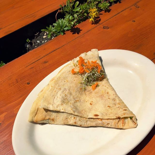 "Did you know that we have vegan crepe batter? Lots of creative make-your-own off menu options, but this one is listed in plain sight. The ""Garden of Vegan"" has chickpeas with vegan mayo, pickles, dill, sprouts, and carrots. Great for vegans or for your summer health kick..."