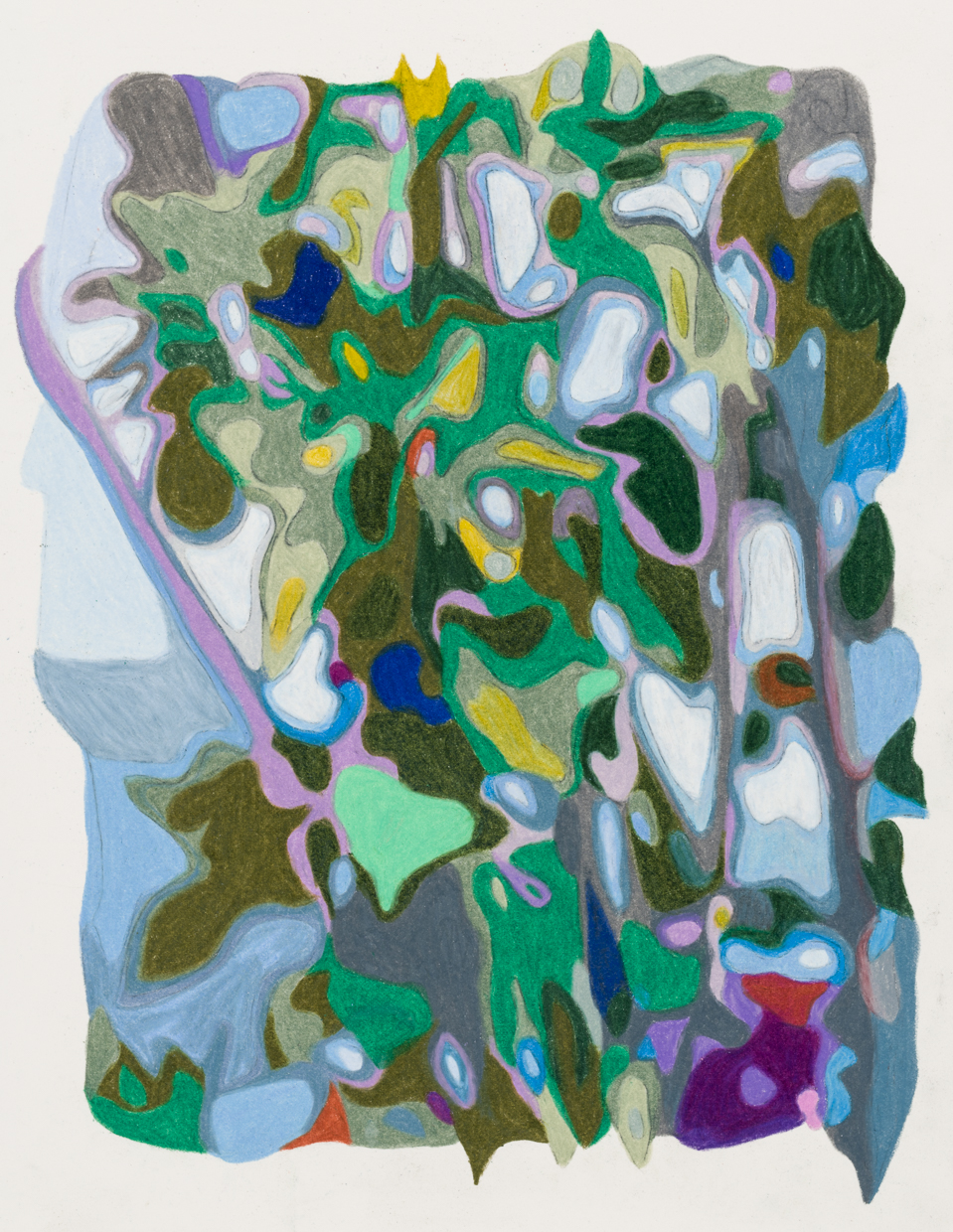 Roadside vines, Big Sur  colored pencil on paper with cutouts, 12 x 9 3/4 inches, 2019.  Photography by    Paul Takeuchi