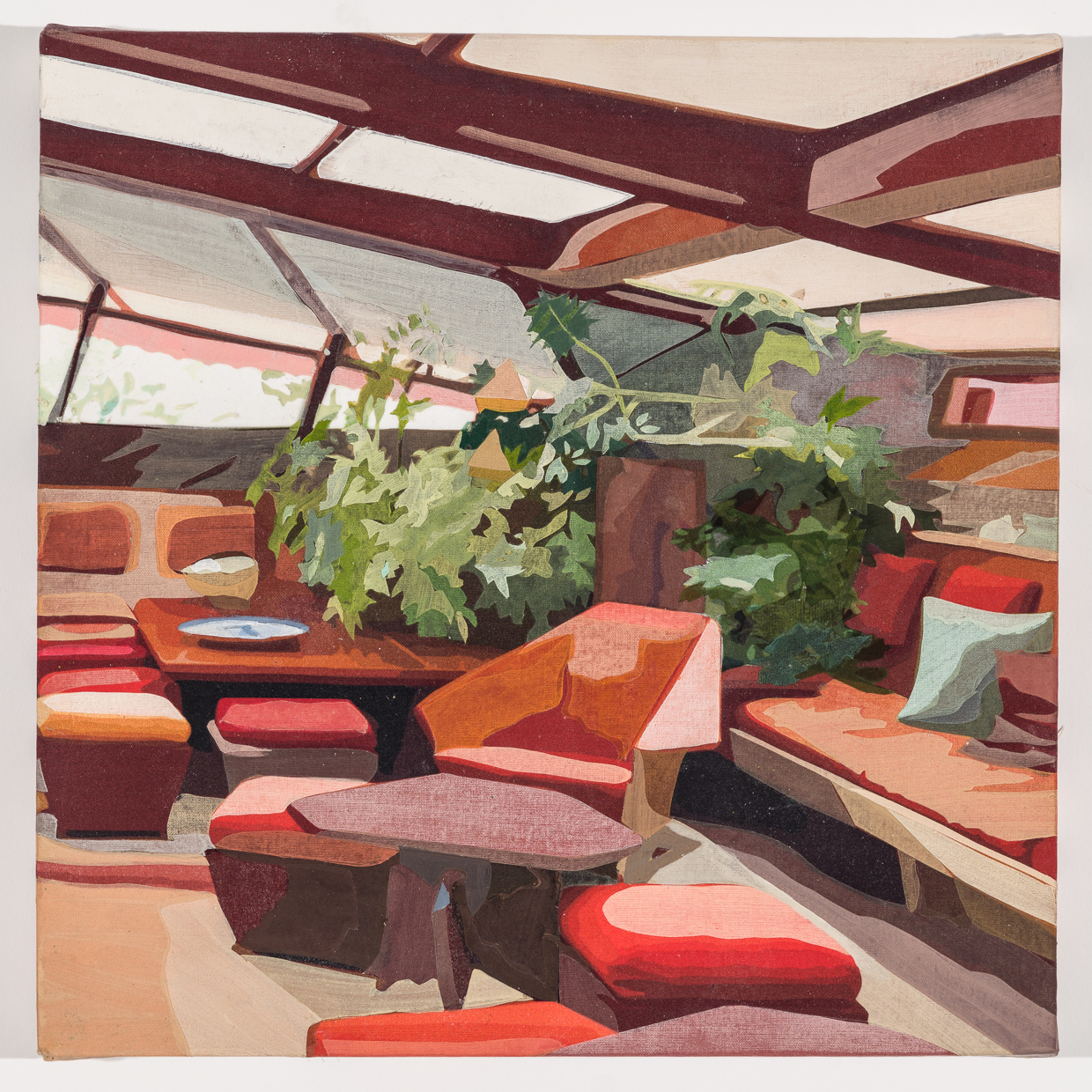Frank Lloyd Wright's Living Room (right side) , acrylic on pigment-printed fabric on panel, 12 x 12 inches, 2019.  Photography by    Paul Takeuchi
