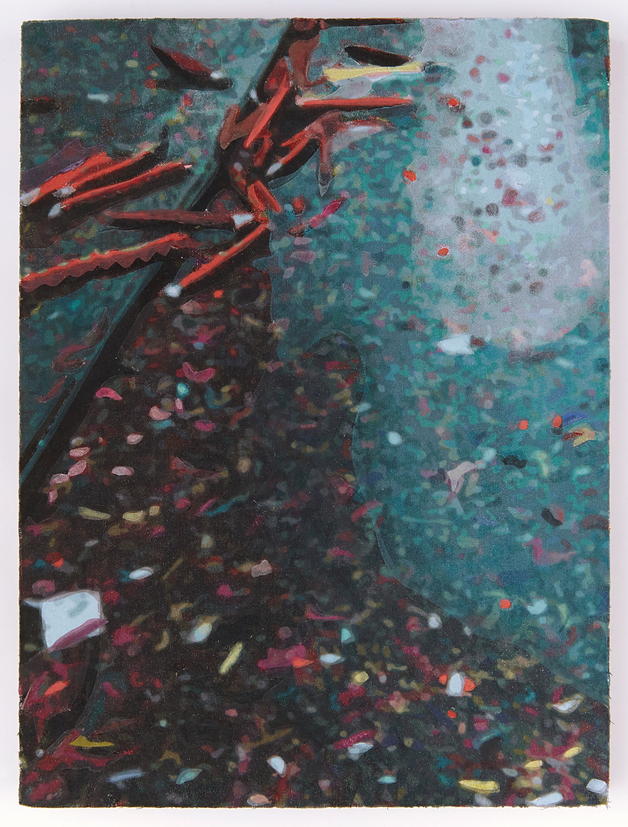Chinatown Confetti , 8 x 6 inches, acrylic on pigment-printed fabric panel, 2019.  Photography by    Theo Coulombe