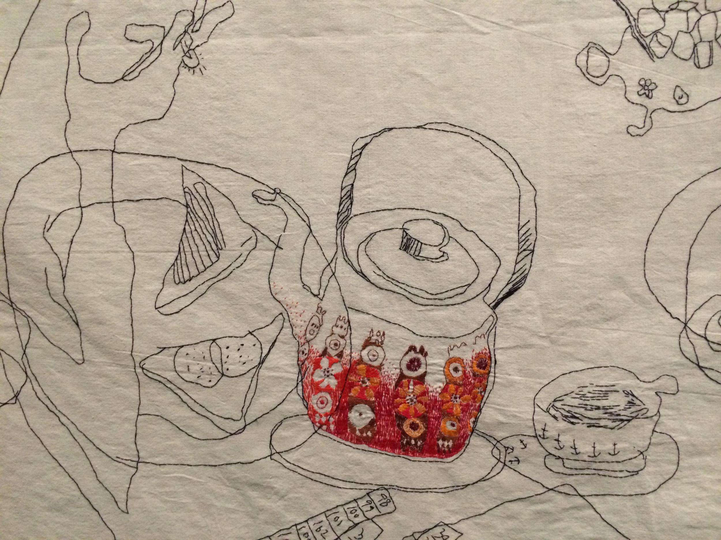 """Detalj fra Maria Ryan Sondresens """"Skaland Bedehus"""" fra 2006."""