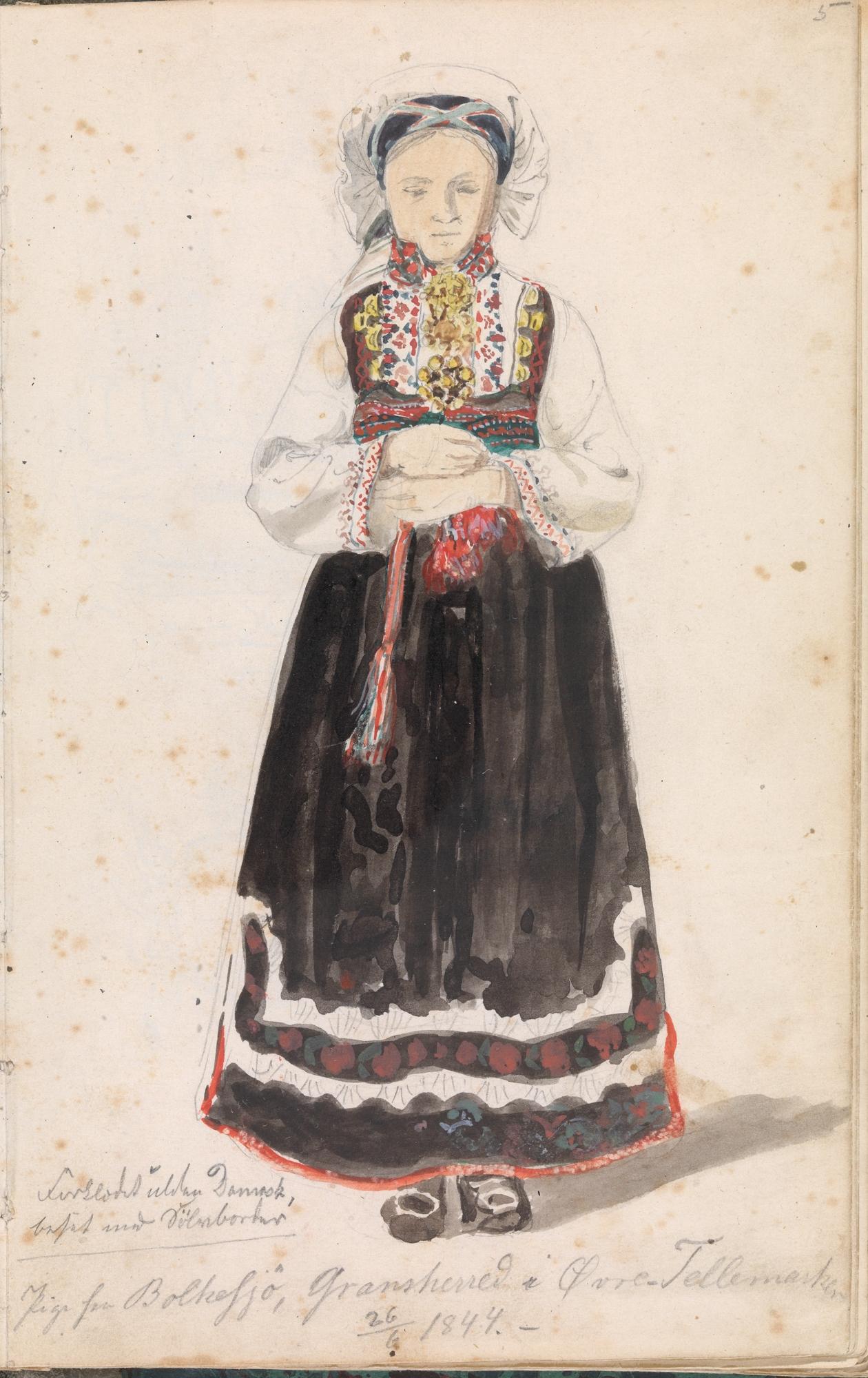 Pige fra Bolkesjö, Gransherred i Øvre Tellemarken, 26. juni 1844. Foto: Nasjonalmuseet CC-BY-NC