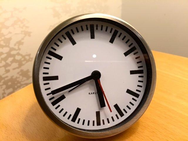 alarm clock on my bedside table