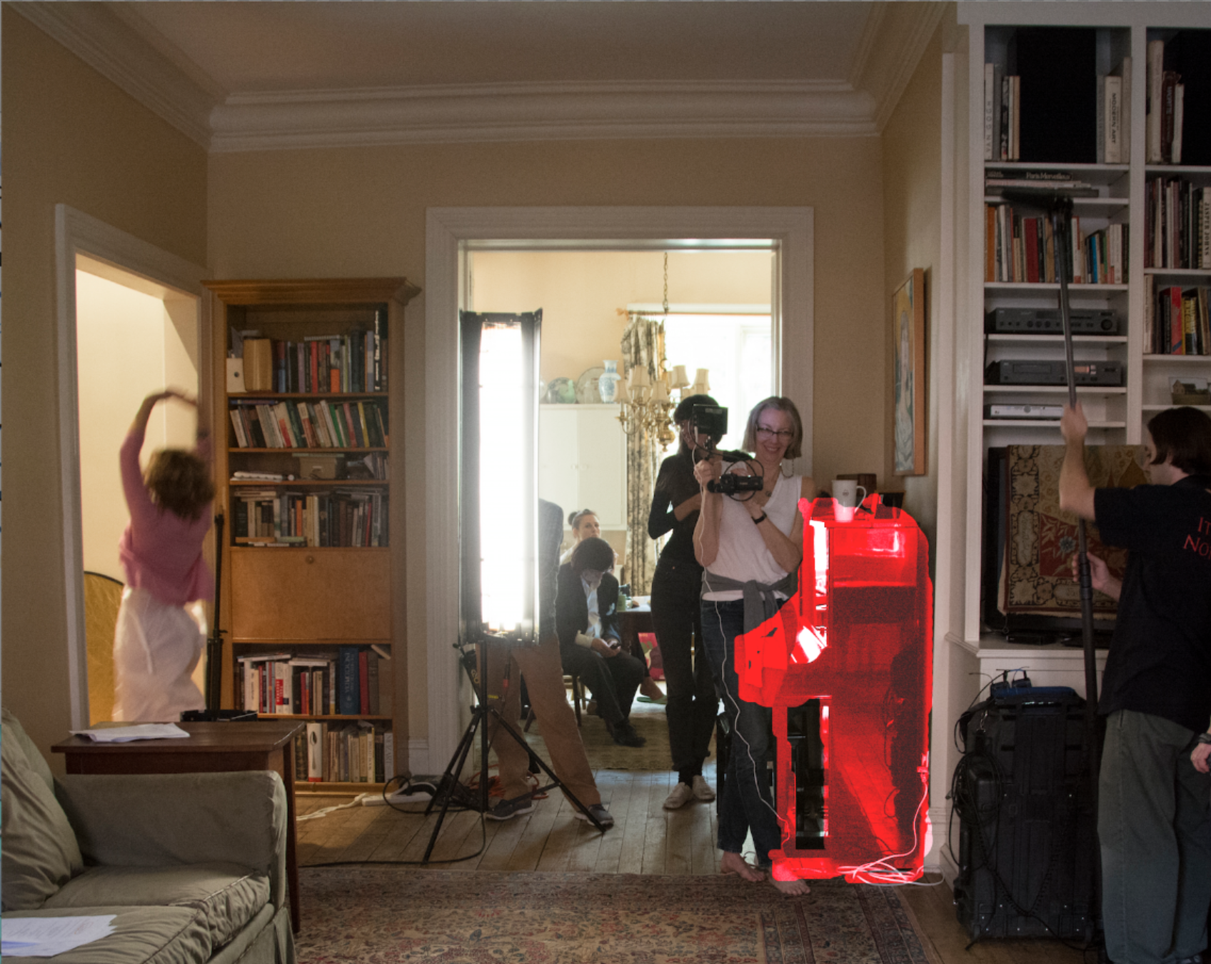 The only picture I could find of the living room which shows the piano (partially obscured but highlighted) is from the shoot of Season 3. (L to R Danusia Trevino, Everett Quinton, Jennifer Sklias-Gahan, Kira Cecilia, me, The Piano, Chris Leone) Photo by Karen Sanderson