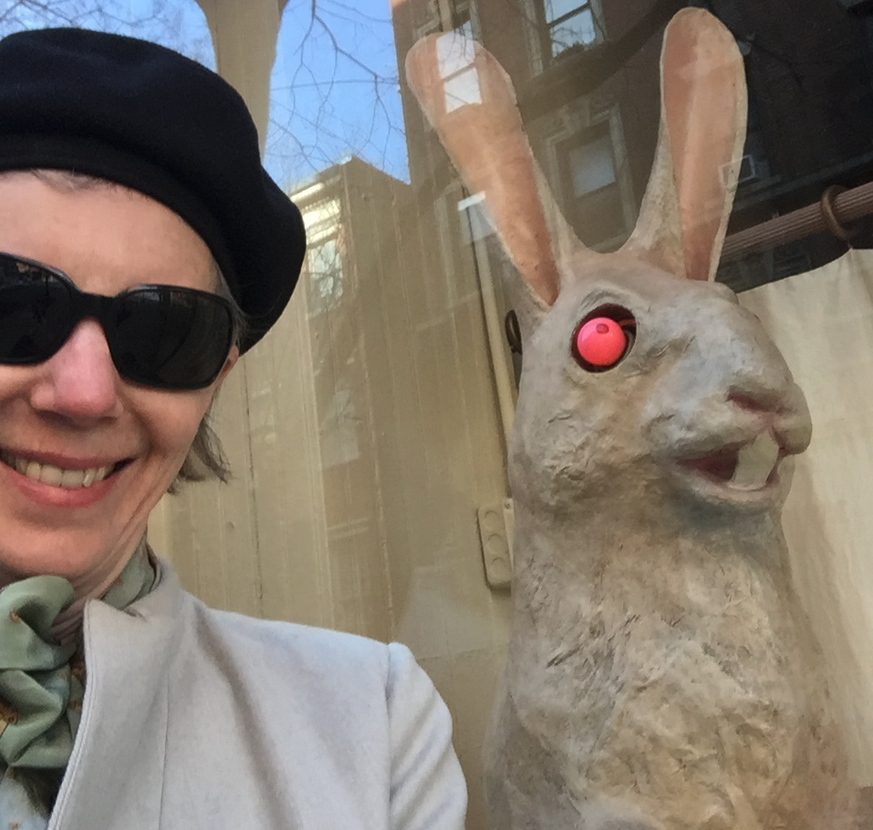 Traumatized author after unintentional shock therapy with a five foot tall rabbit