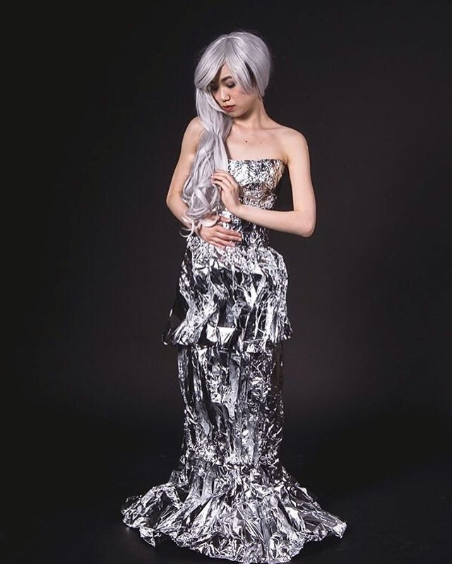 Dress made from tin foil. #fashion #silver #tinfoil #photoshoot #beauty #picoftheday #model #asain #asainmodel #photography #studio #designer #recycle