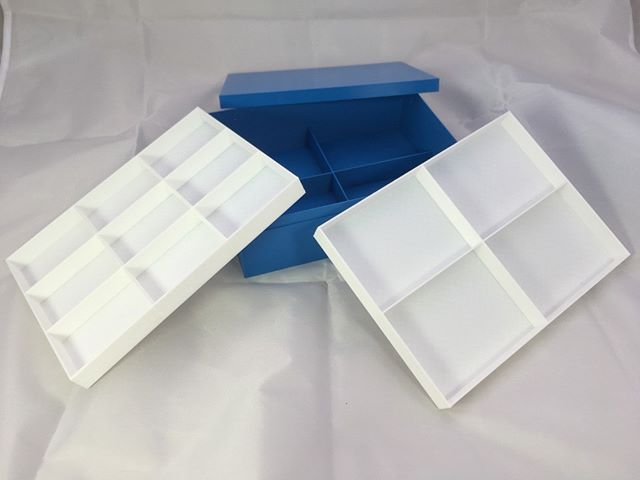 New openscad customizable design for box with inserts and dividers. https://www.thingiverse.com/thing:3695305 #3ddesigns #3Dprinting #storage #boxes #openscad