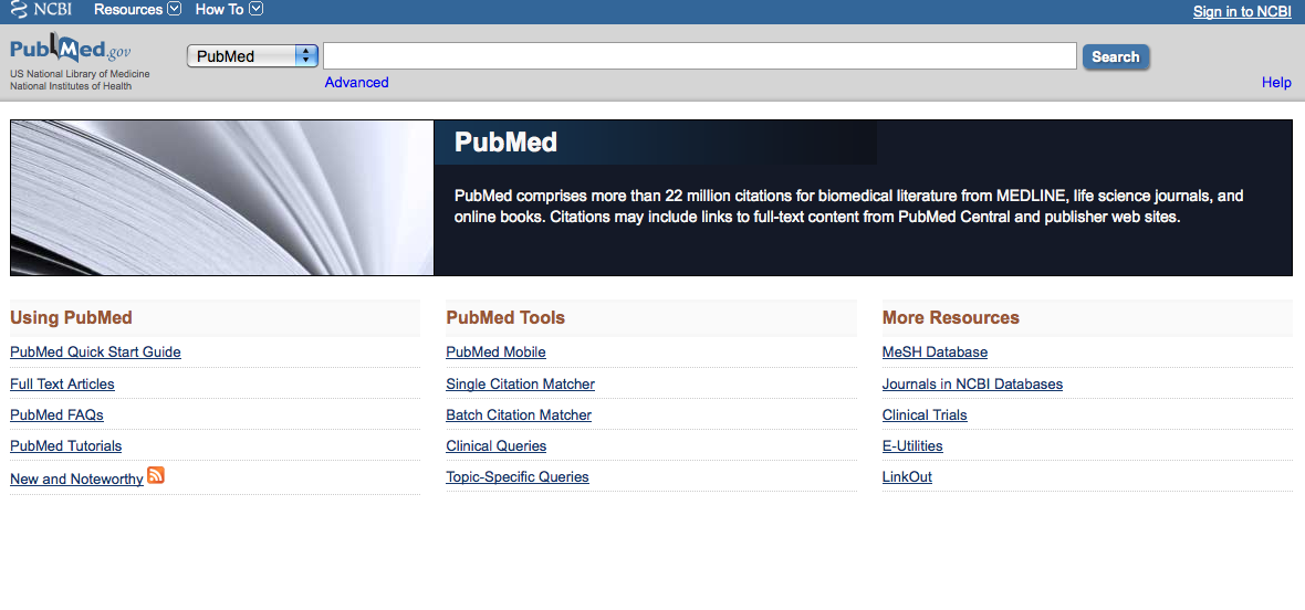 Screen shot of PubMed - You can find Clinical Queries search function under PubMed Tools