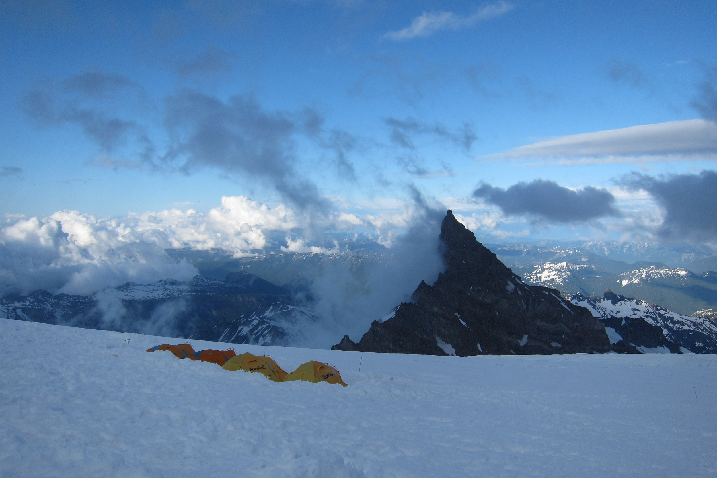 A beautiful view across Cathedral Peak and down the Ingraham Glacier. The weather can quickly go from this....