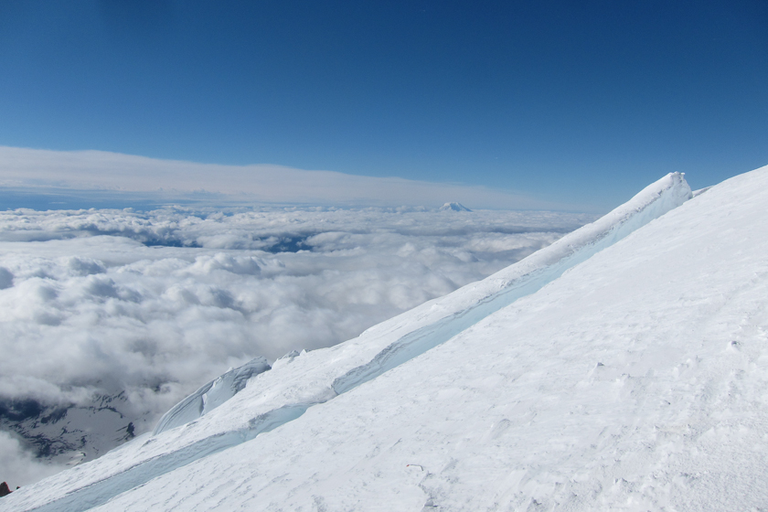 "The view toward Mt. Adams from the ""high break"" on Rainier"