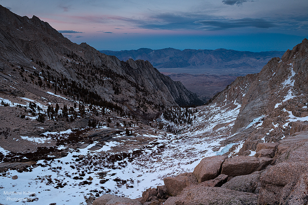 Sunset looking down the Mountaineers Route with Boyscout Lake and Alabama Hills in the distance.
