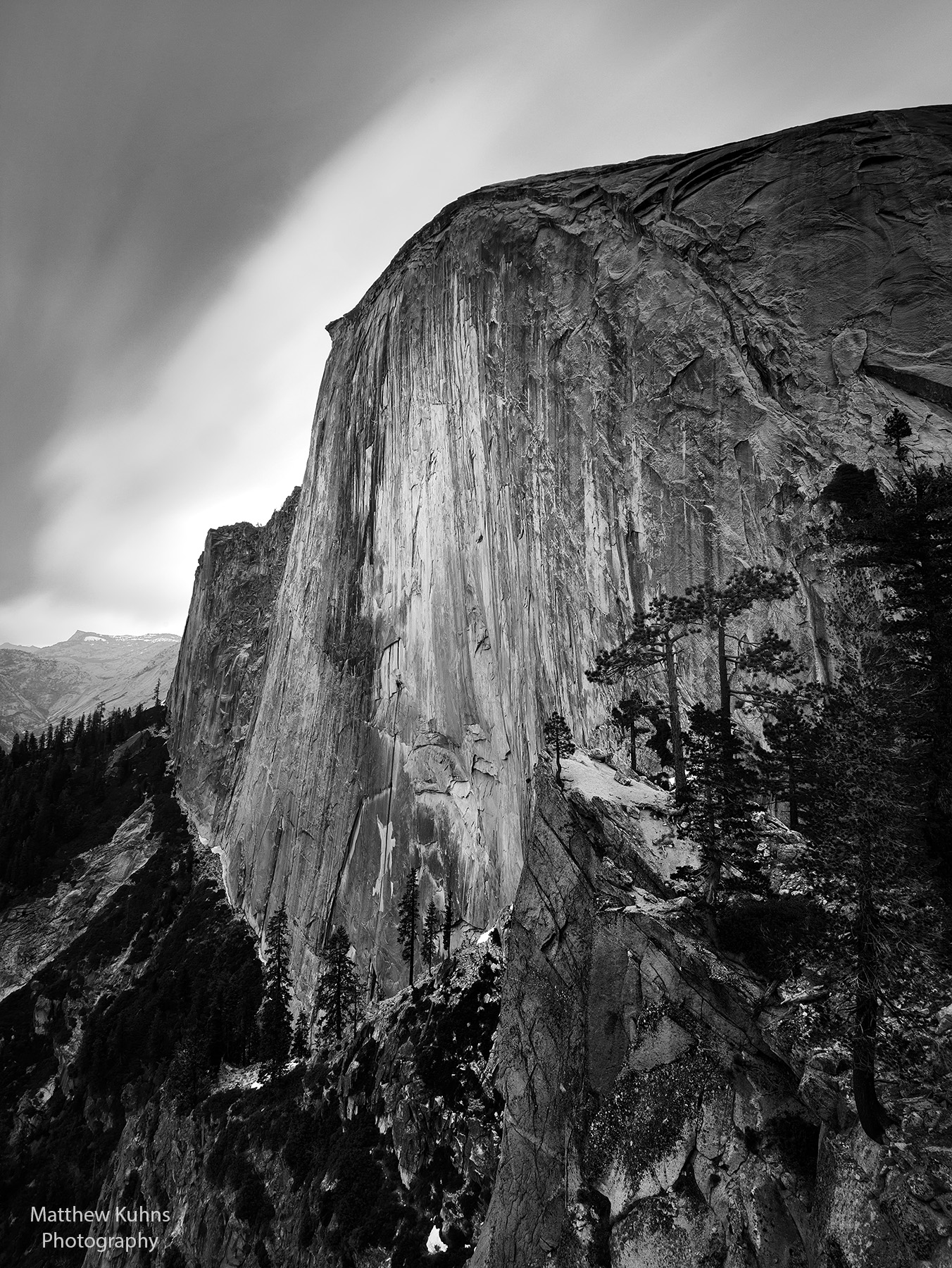 A cloudy day on the face of Half Dome