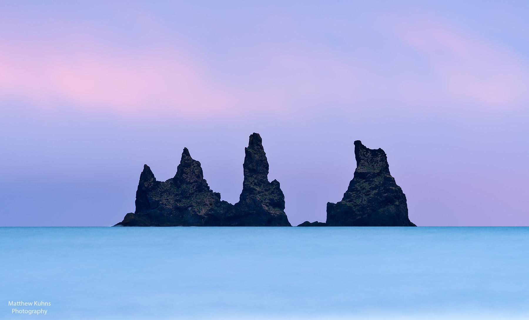 Click to Enlarge. The black sea stacks at Vik.