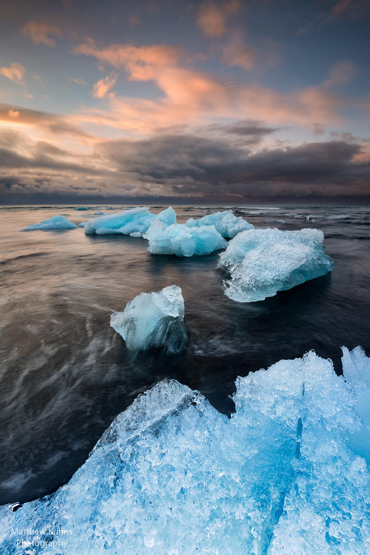 Click to Enlarge. Iceberg Dawn at Jokulsarlon.