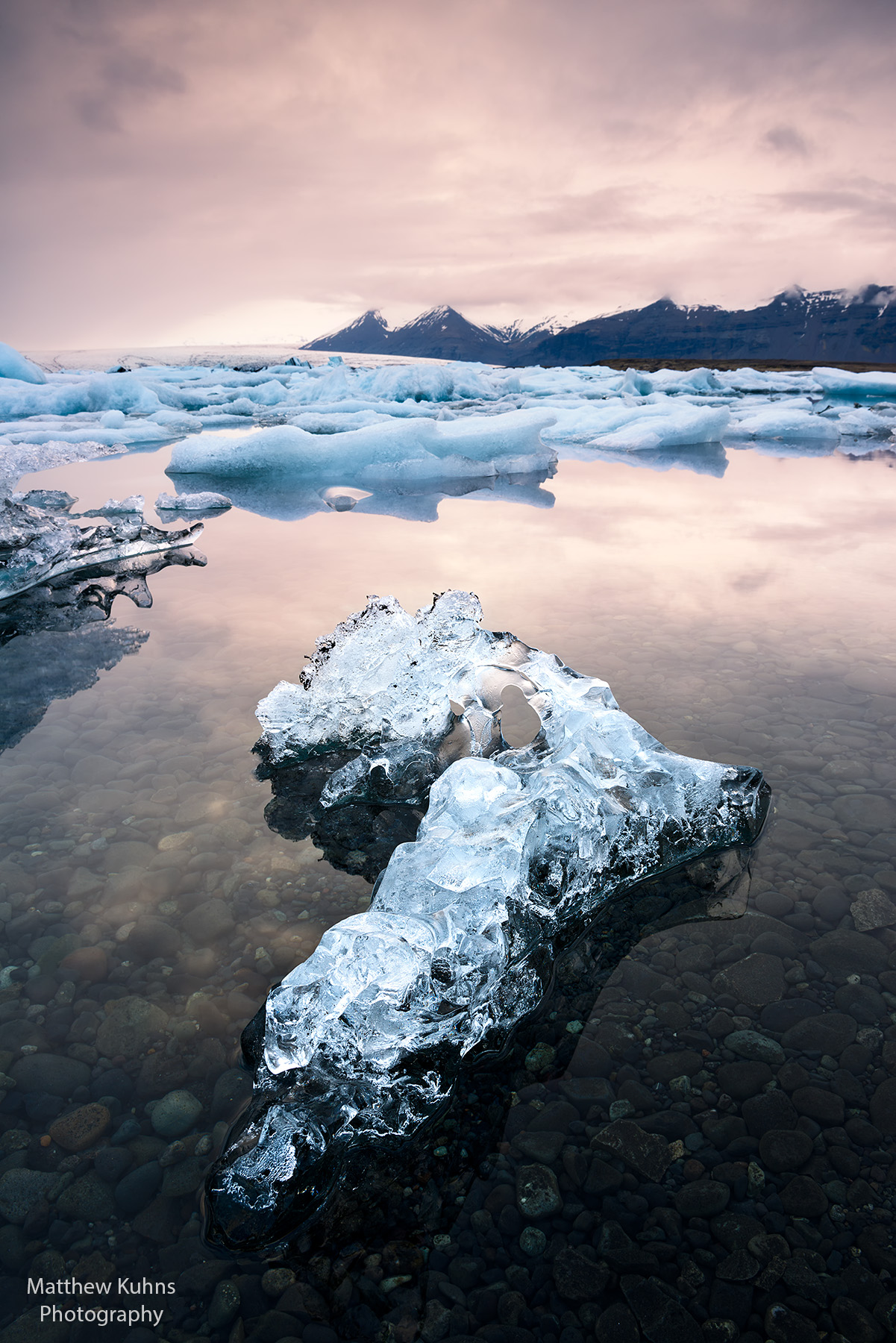 Click to Enlarge: Ice and the lagoon.