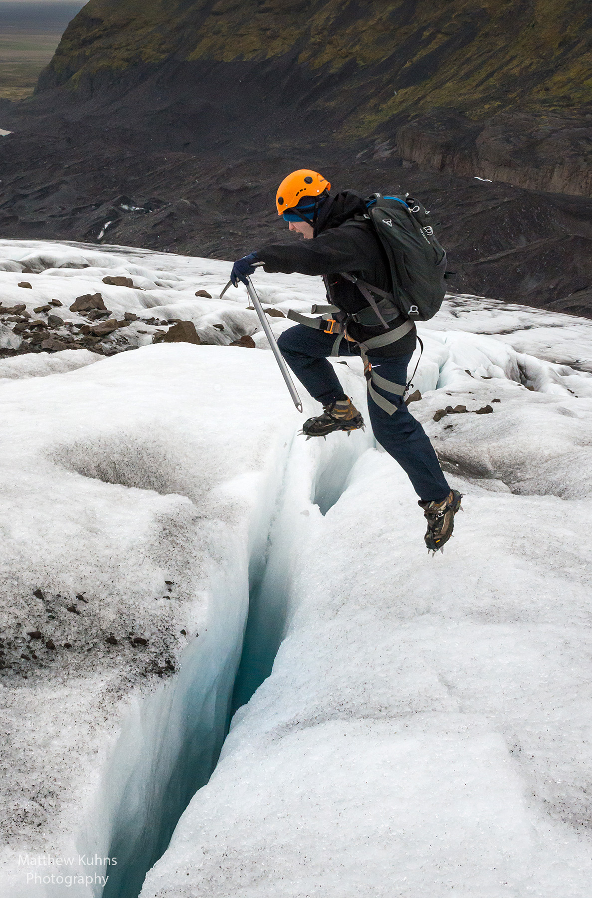 Click to Enlarge: Crossing the crevasse.