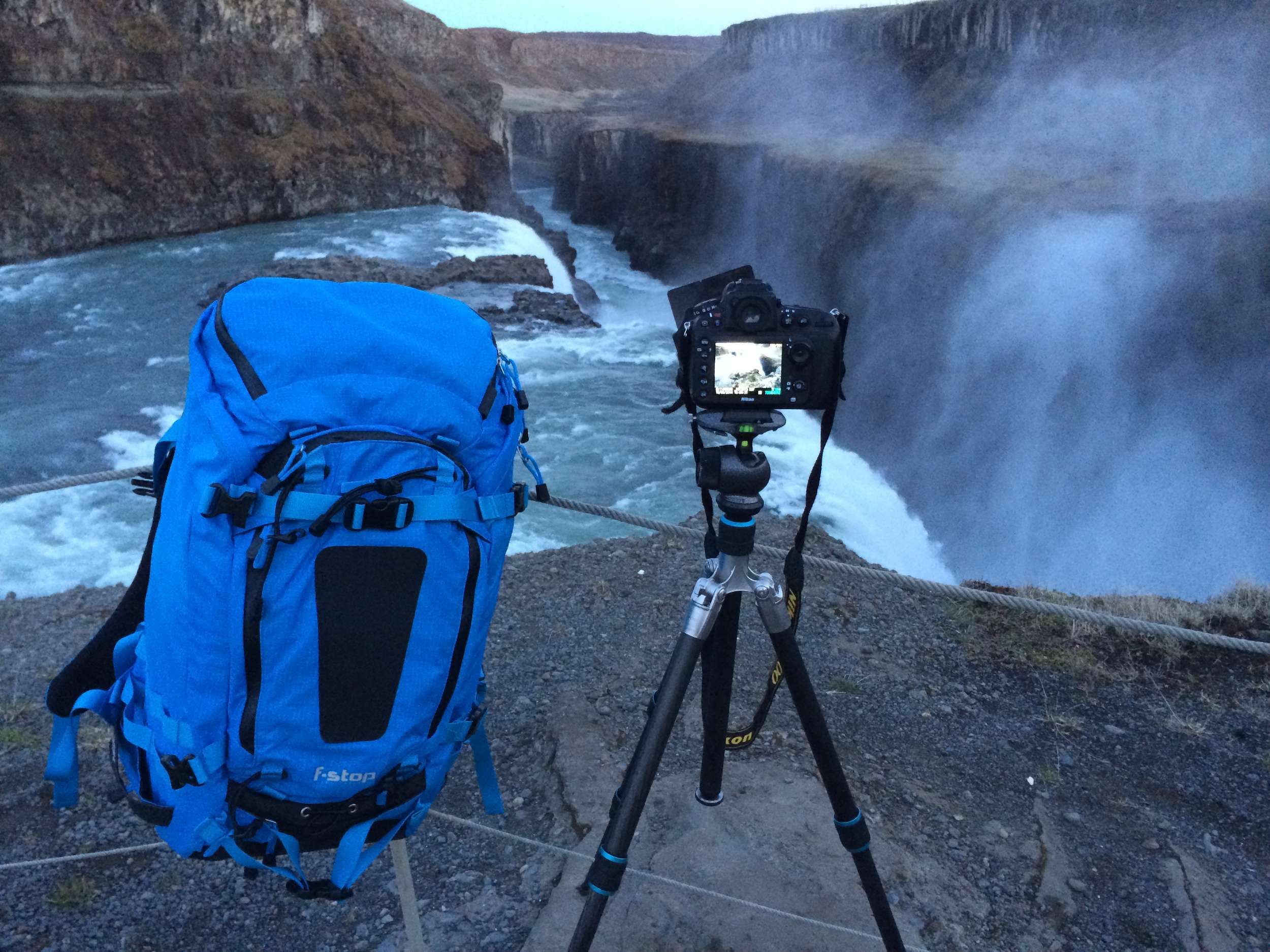 Getting the shot at Gullfoss.