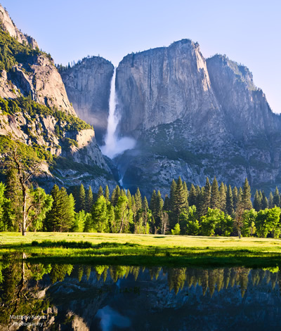 An early morning view of Yosemite Falls to take your breath away.  View photograph