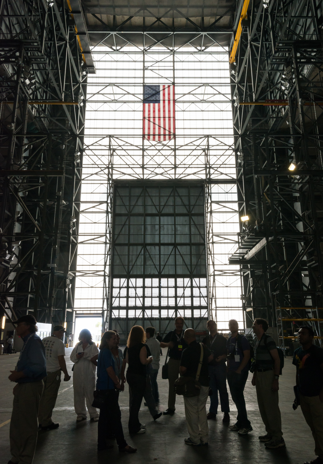"Looking back towards the ""little"" doors. NASA Social participants in the foreground."