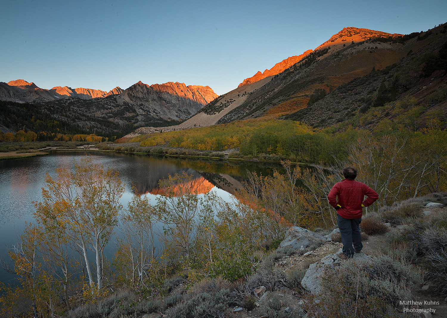 Enjoying the view and fall colors at first light at North Lake in the Sierras.