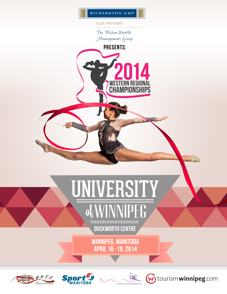 Client:  Rhythmic Gymnastics Manitoba.  A poster and logo designed for RGM to promote the 2014 Western Regional Championships held in Winnipeg.