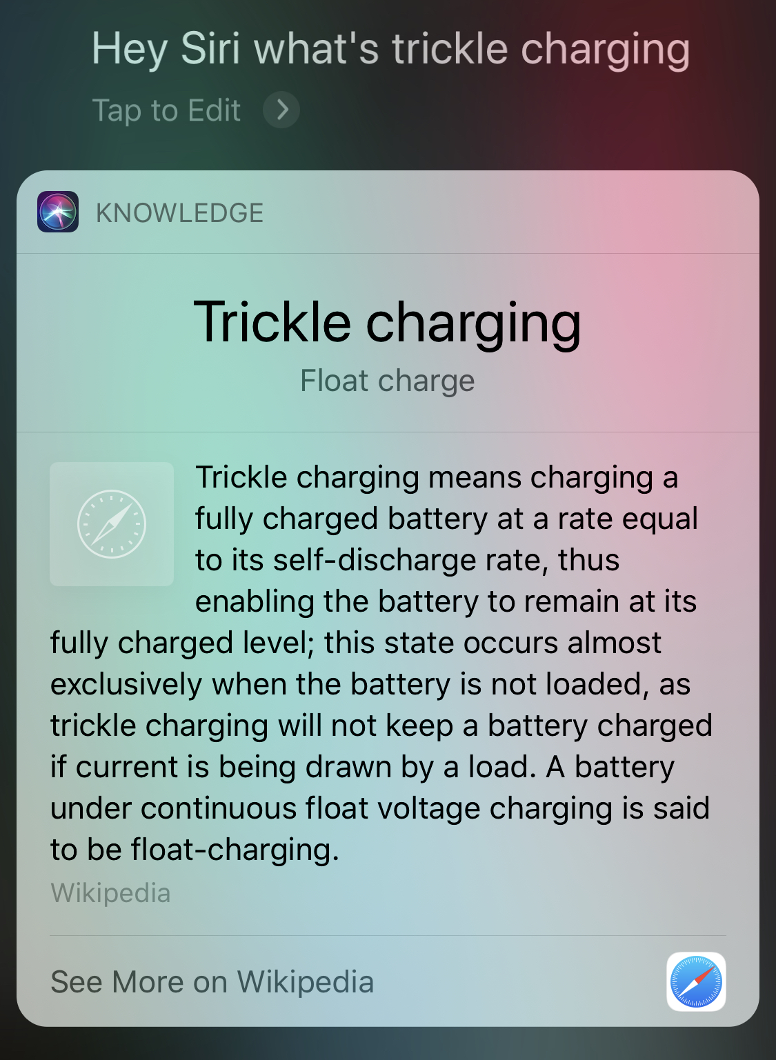 Hey Siri… - What's trickle charging?