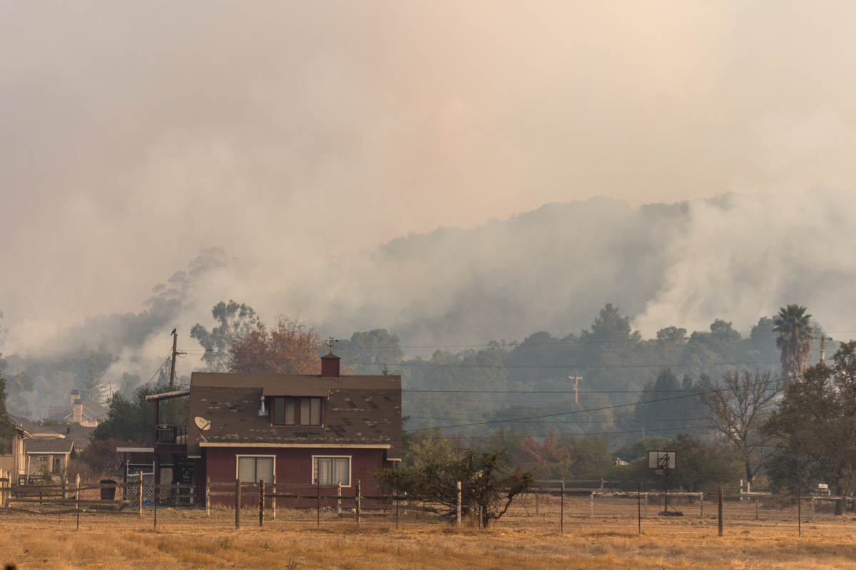 Sonoma, CA 10/14/17: Residents on the east side of Sonoma received mandatory evacuation early Saturday morning as the Partrick Fire edged closer to the city. By late morning the winds had subsided and firefighters had largely stopped the forward advance. Smoke rises off the hills in this view from Lovall Valley Rd.