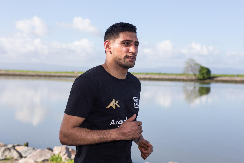 Boxer Amir Khan trains in preparation for a fight against Canelo Alvarez. San Leandro, CA April 2016.