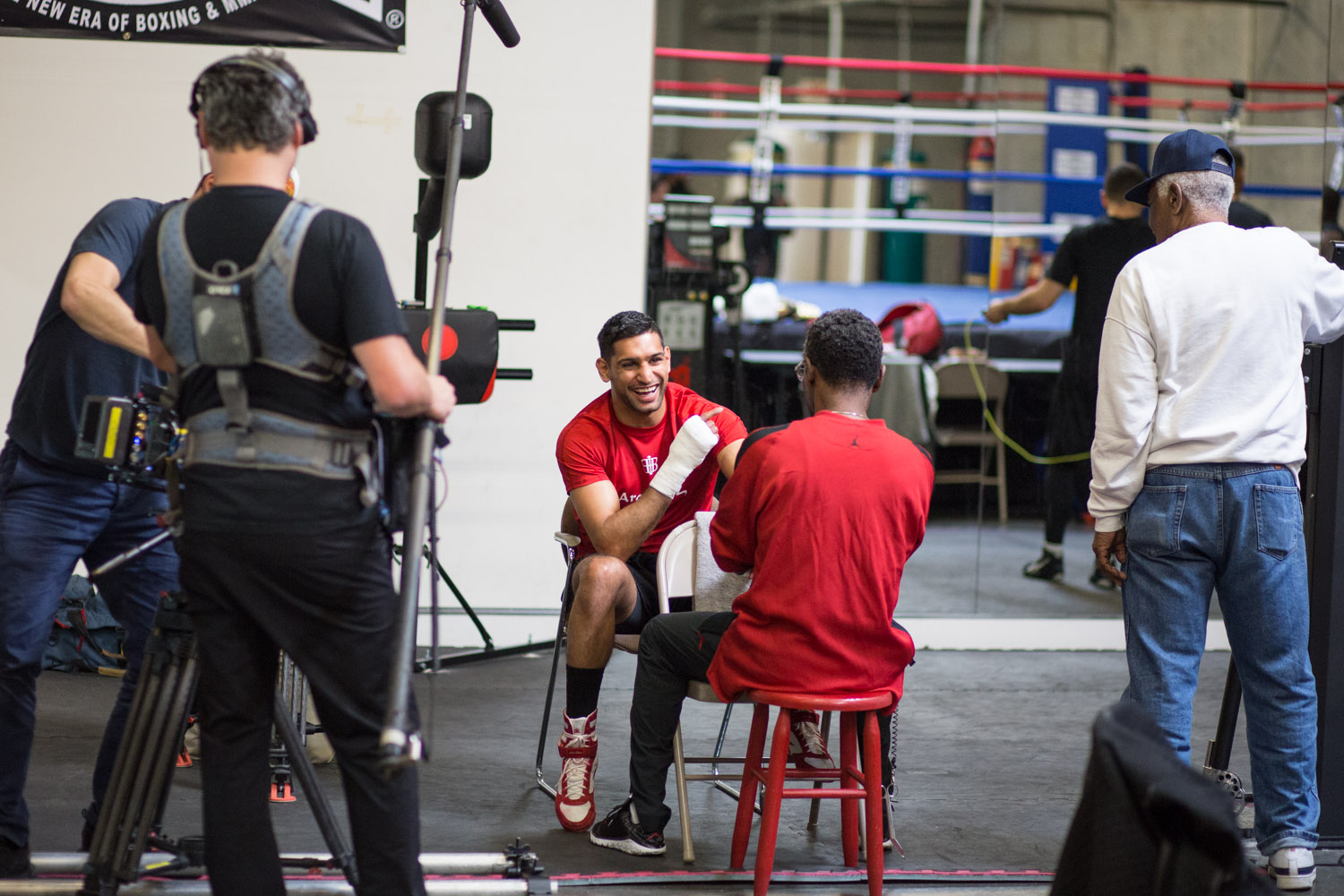 Boxer Amir Khan surrounded by an HBO '24/7' film crew as he trains for a fight against Canelo Alvarez. April 2016.