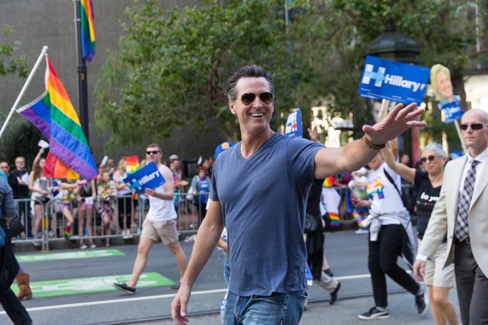 Lieutenant Gov. Gavin Newsom marches at the San Francisco Pride Parade. June 2016
