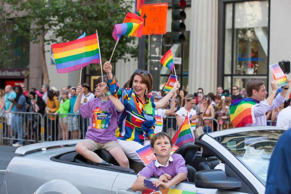 Nancy Pelosi at the 2016 Pride Parade. San Francisco, CA.