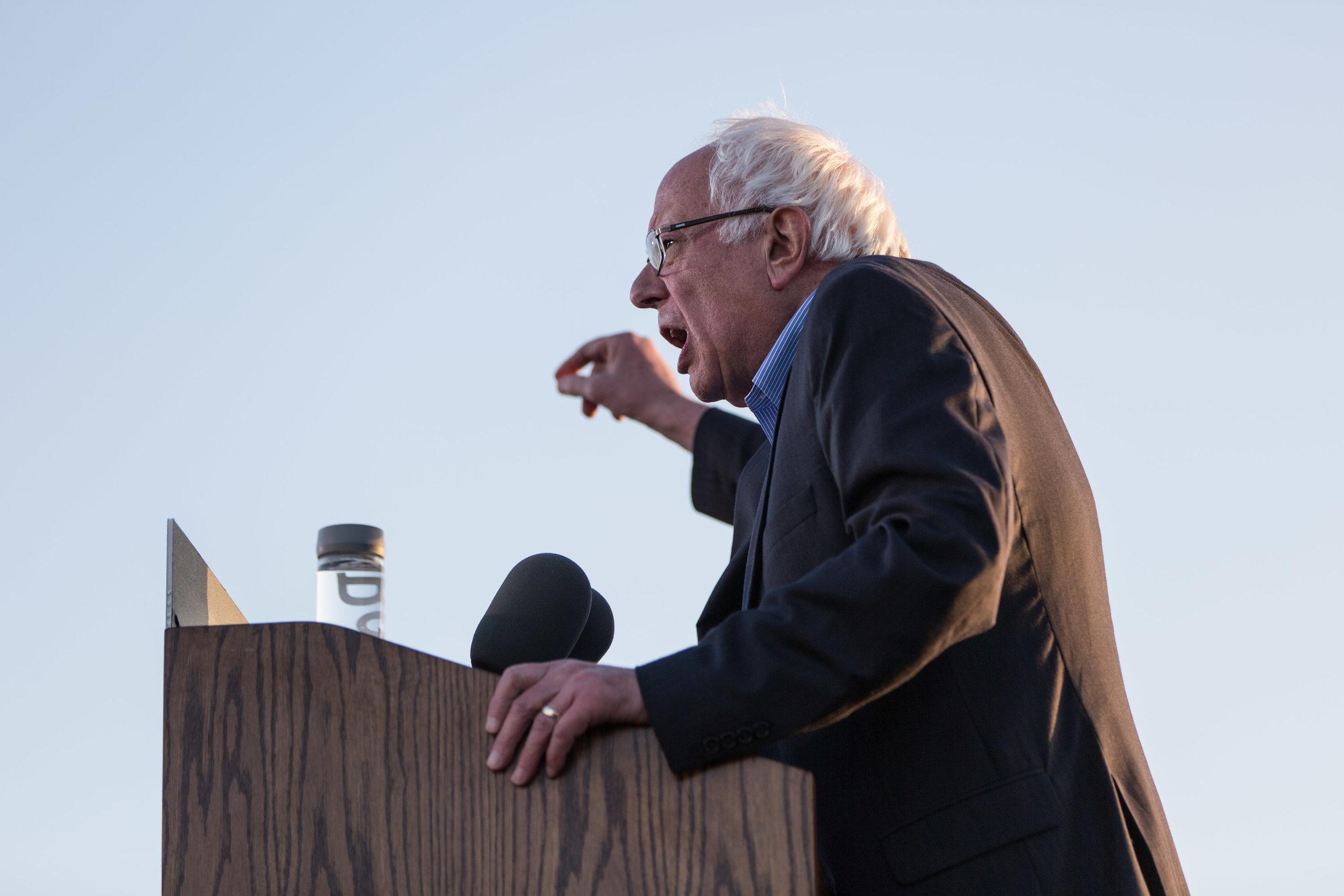 Bernie Sanders addresses a crowd in Vallejo, CA. May 2016.