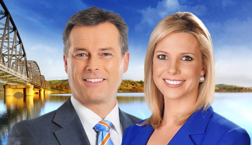 WIN News presenters Bruce Roberts and Amy Duggan.  image source - WINTV
