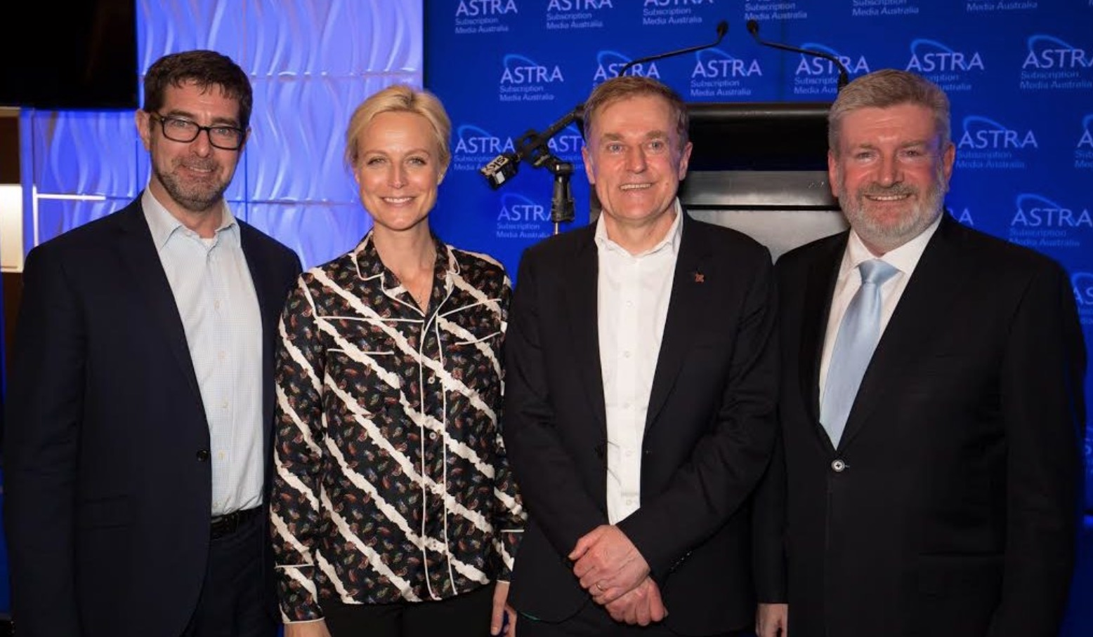Bruce Meagher, Marta Dusseldorp, Peter Tonagh and Mitch Fifield   Image source -  Mediaweek