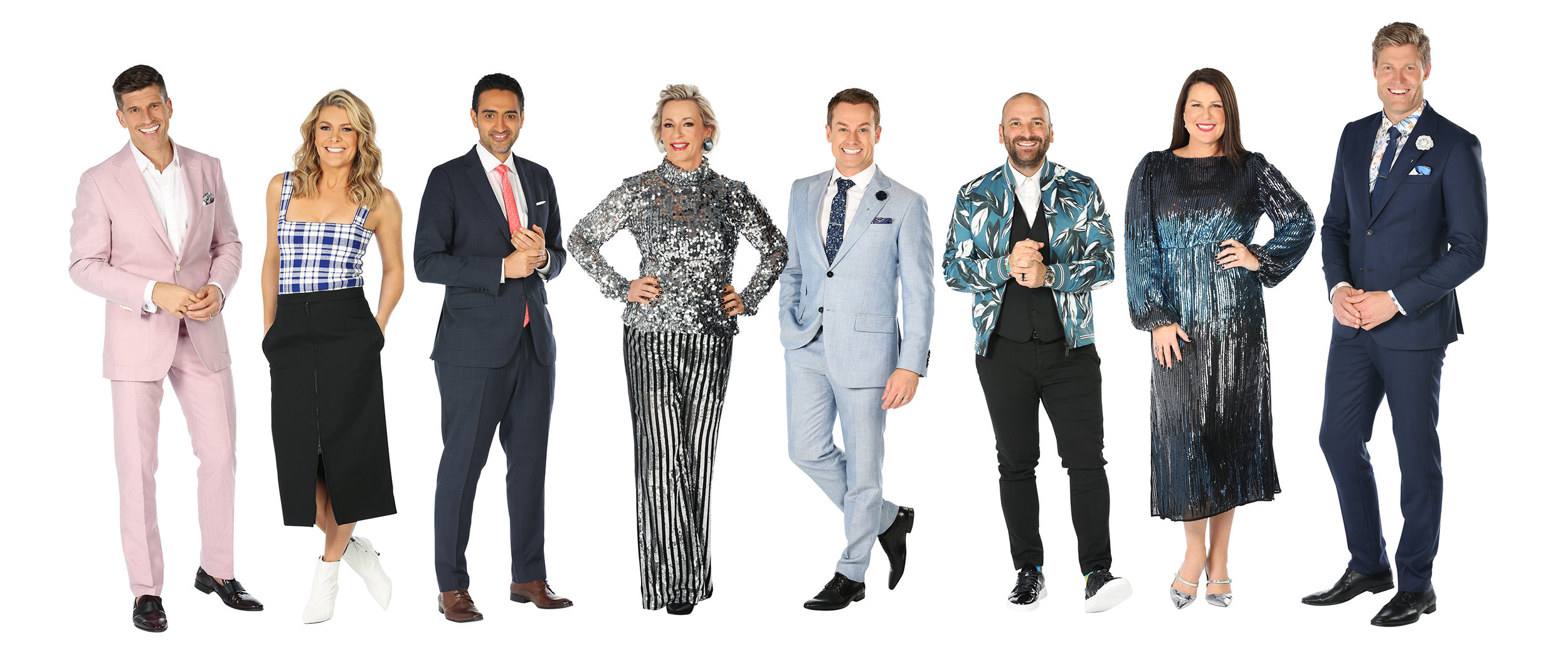 Osher Gunsberg, Nat Bass, Waleed Aly, Amanda Keller, Grant Denyer, George Calombaris, Julia Morris, Chris Brown  Image - Ten