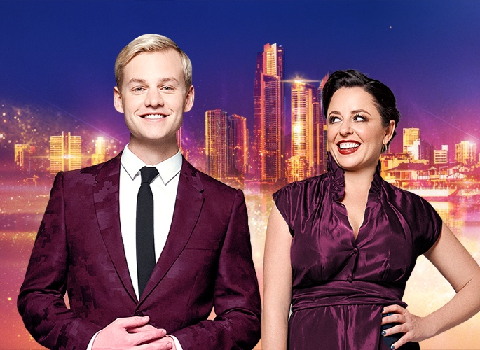Joel Creasey & Myf Warhurst host  Eurovision - Australia Decides   PHOTO: SBS
