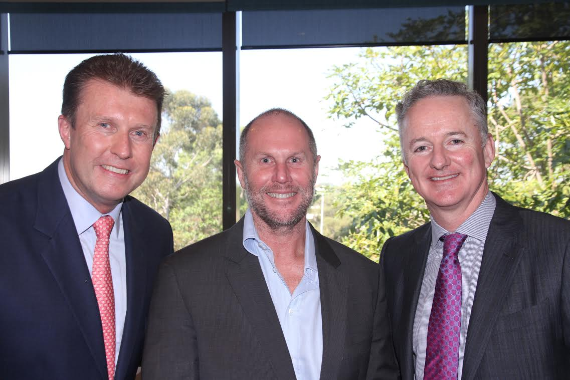 Peter Overton with Darren Wick & CEO Hugh Marks   PHOTO: Mediaweek