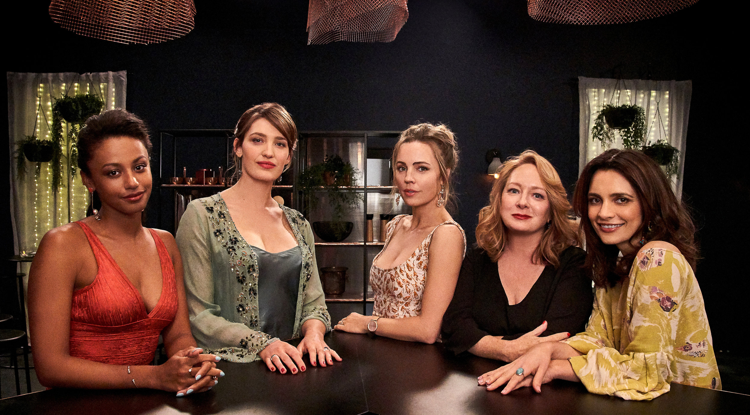 The cast of BAD MOTHERS - Shalom Brune-Franklin, Tess Haubrich, Melissa George, Mandy McElhinney & Jess Tovey  Image - Nine