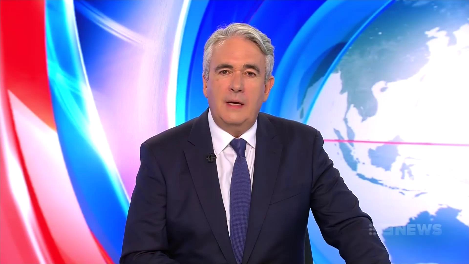 Mark Burrows hosting Nine's coverage   PHOTO: Screen capture via TV Blackbox
