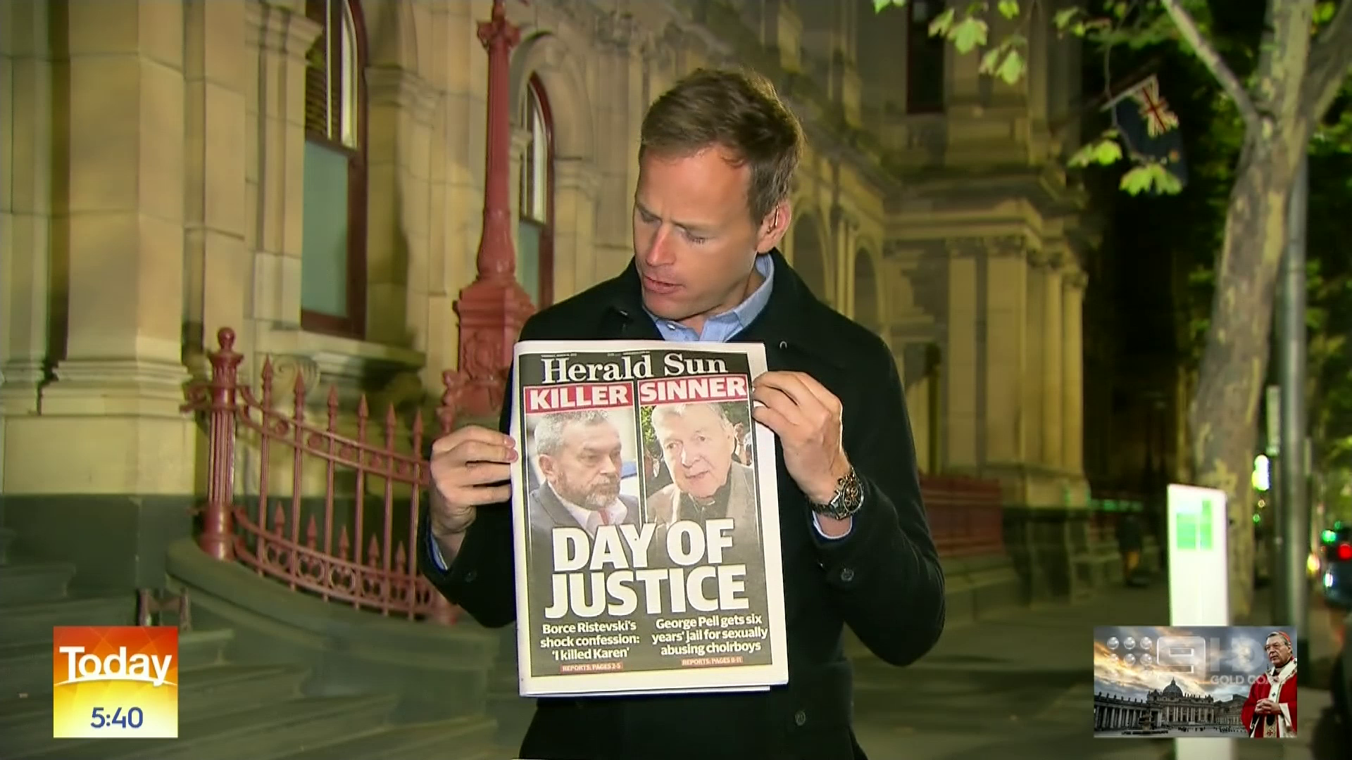 Tom Steinfort came under fire for reporting live from a court house after George Pell was sentenced almost 24 hours earlier.