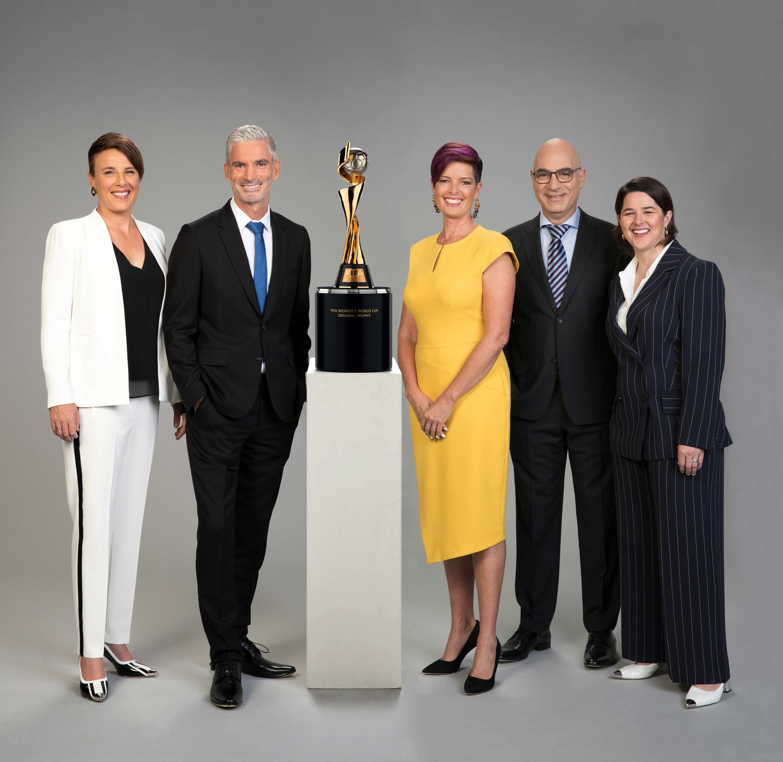 Joey Peters, Craig Foster, Tracey Holmes, David Basheer, and Sarah Walsh  image - SBS