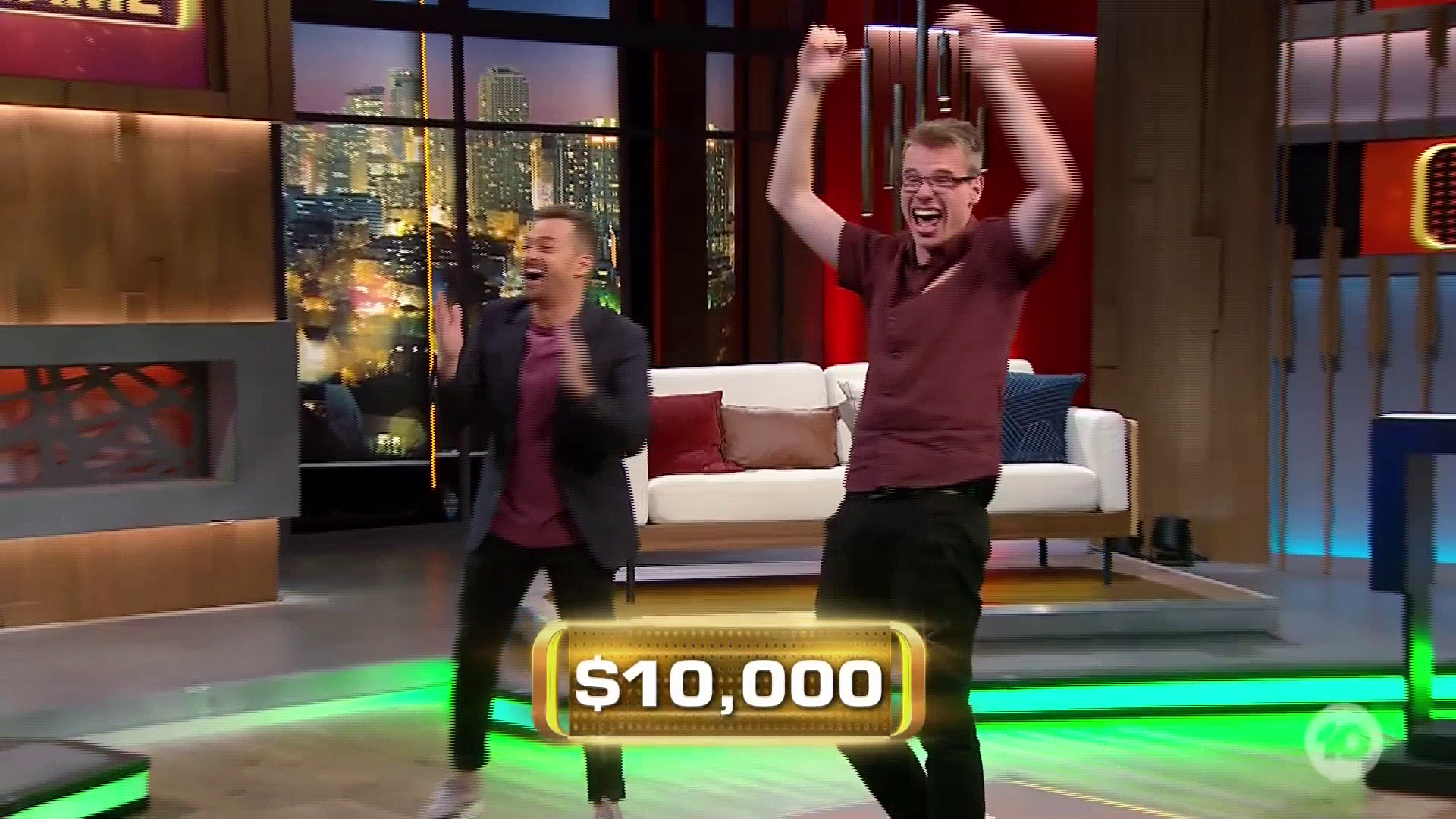 The moment former channel 10 employee ANDREW LOGUE wins $10,000