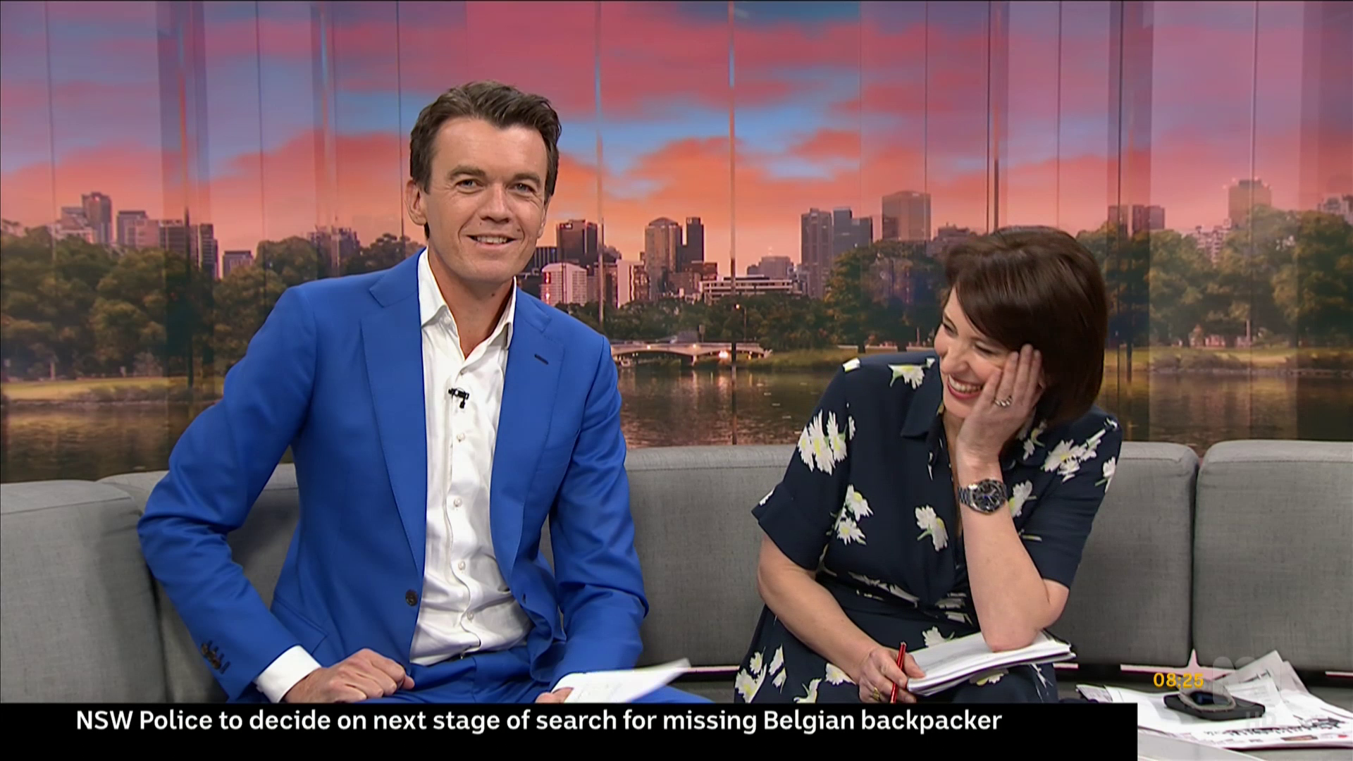 Virginia Trioli  gets the giggles during the introduction to a serious story on  ABC News Breakfast   IMAGE: ABC