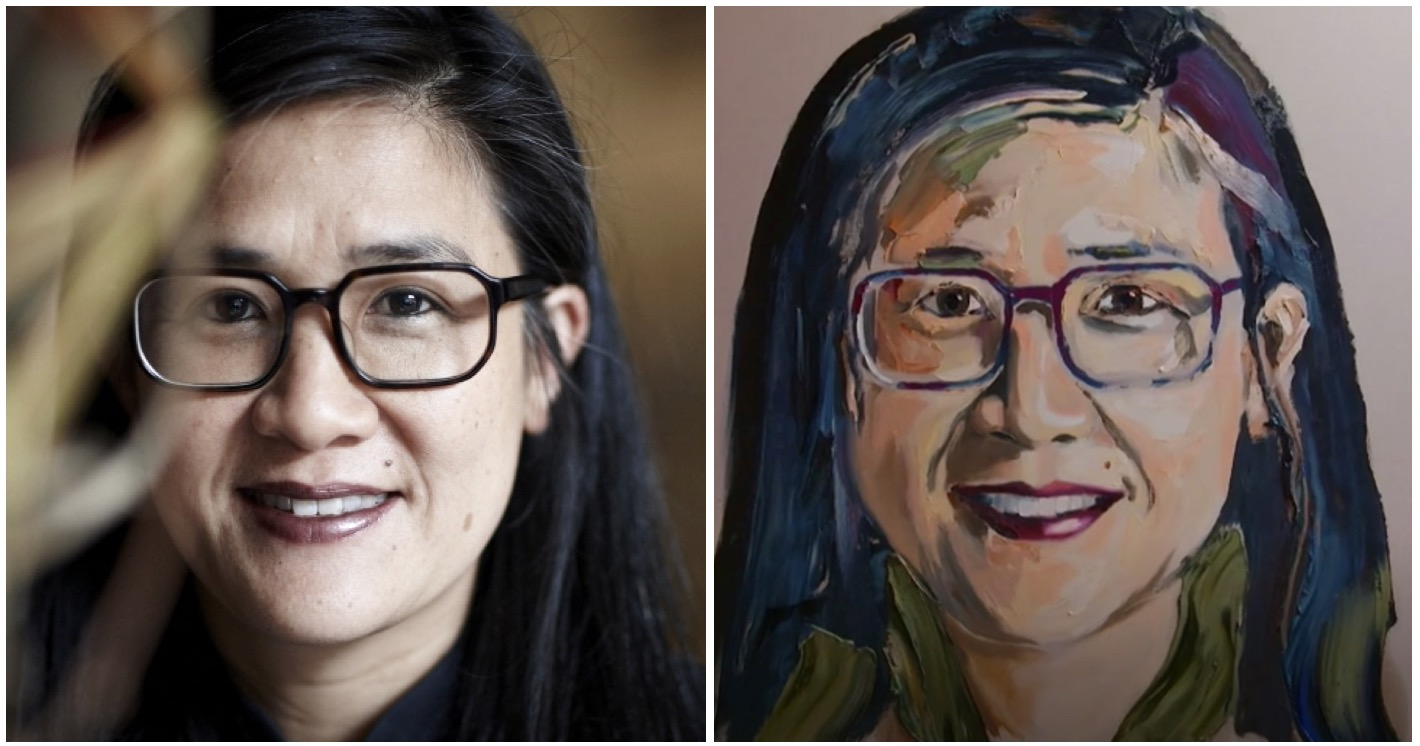 Left - The original photo of Kylie Kwong taken by photographer Toby Burrows in 2012. Right - The 2019 portrait of Kylie Kwong as painted by Anh Do.