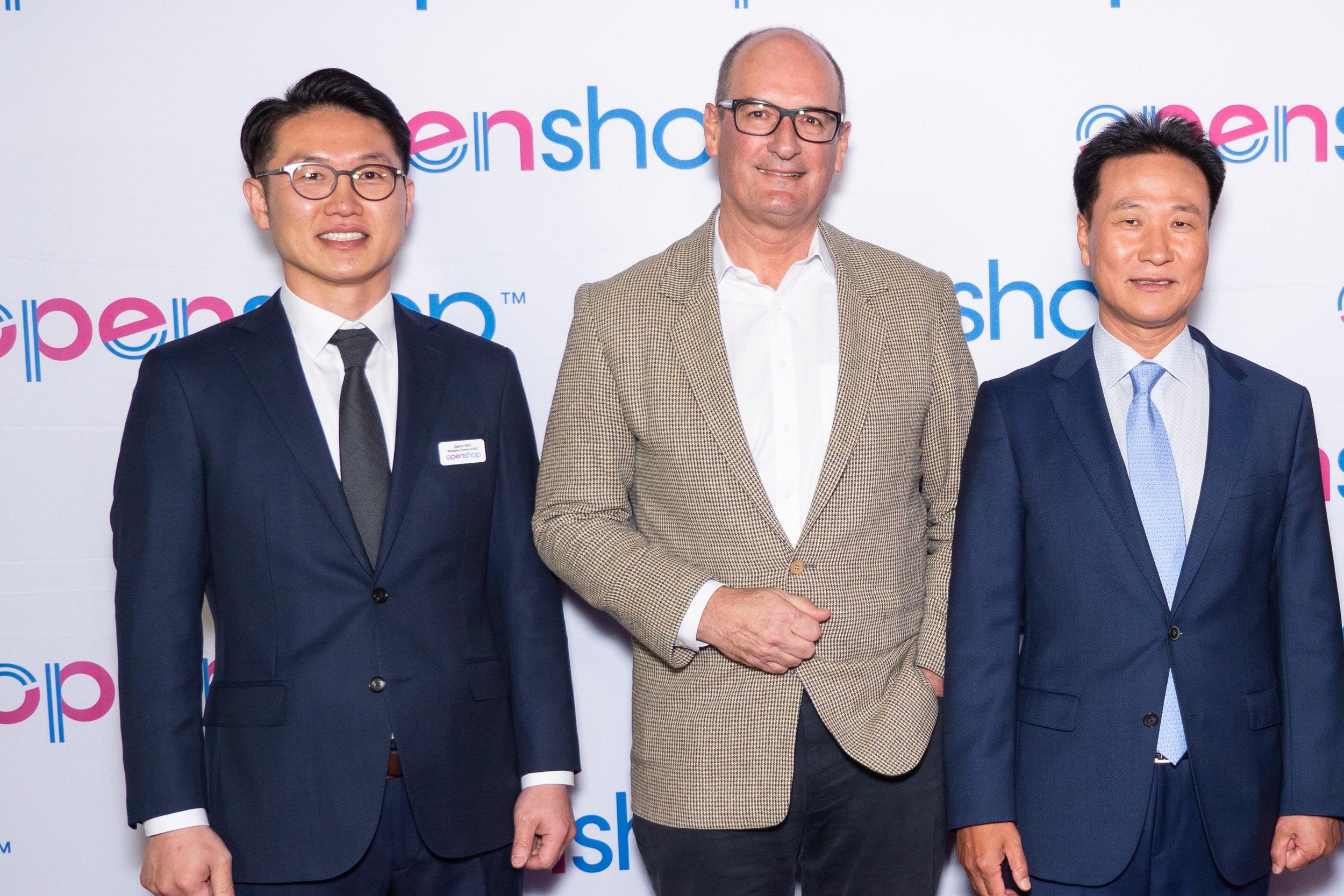 CEO of openshop Jason Kim, Kochie and President Hyundai Home Shopping Chan Suk Kang.jpg