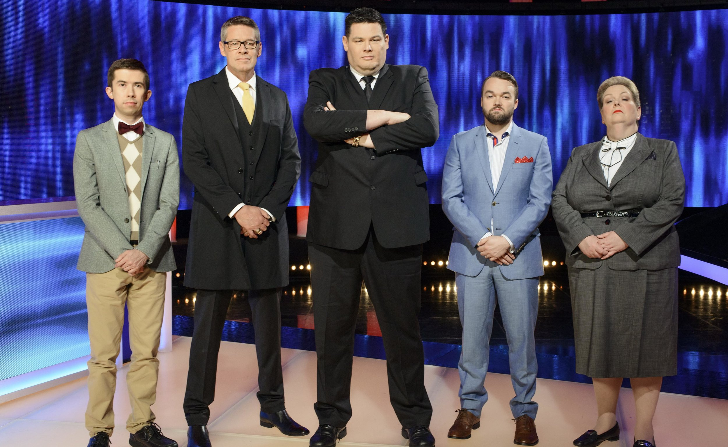 The Chaser's (from left) - Issa 'The Supernerd' Schultz, Matt 'Goliath' Parkinson ,  Mark 'The Beast' Labbett,   Brydon 'The Shark' Coverdale ,  and Anne 'The Governess' Hegerty . image - Seven