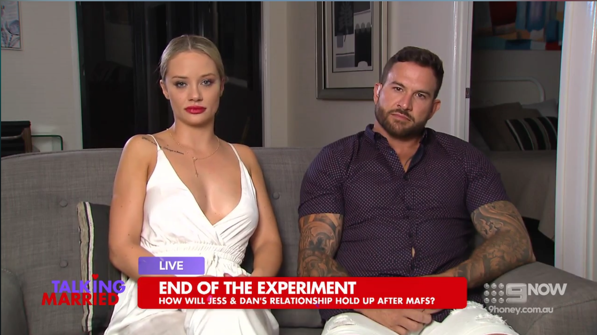 Not happy: Jess and Dan answering tough questions on  Talking Married