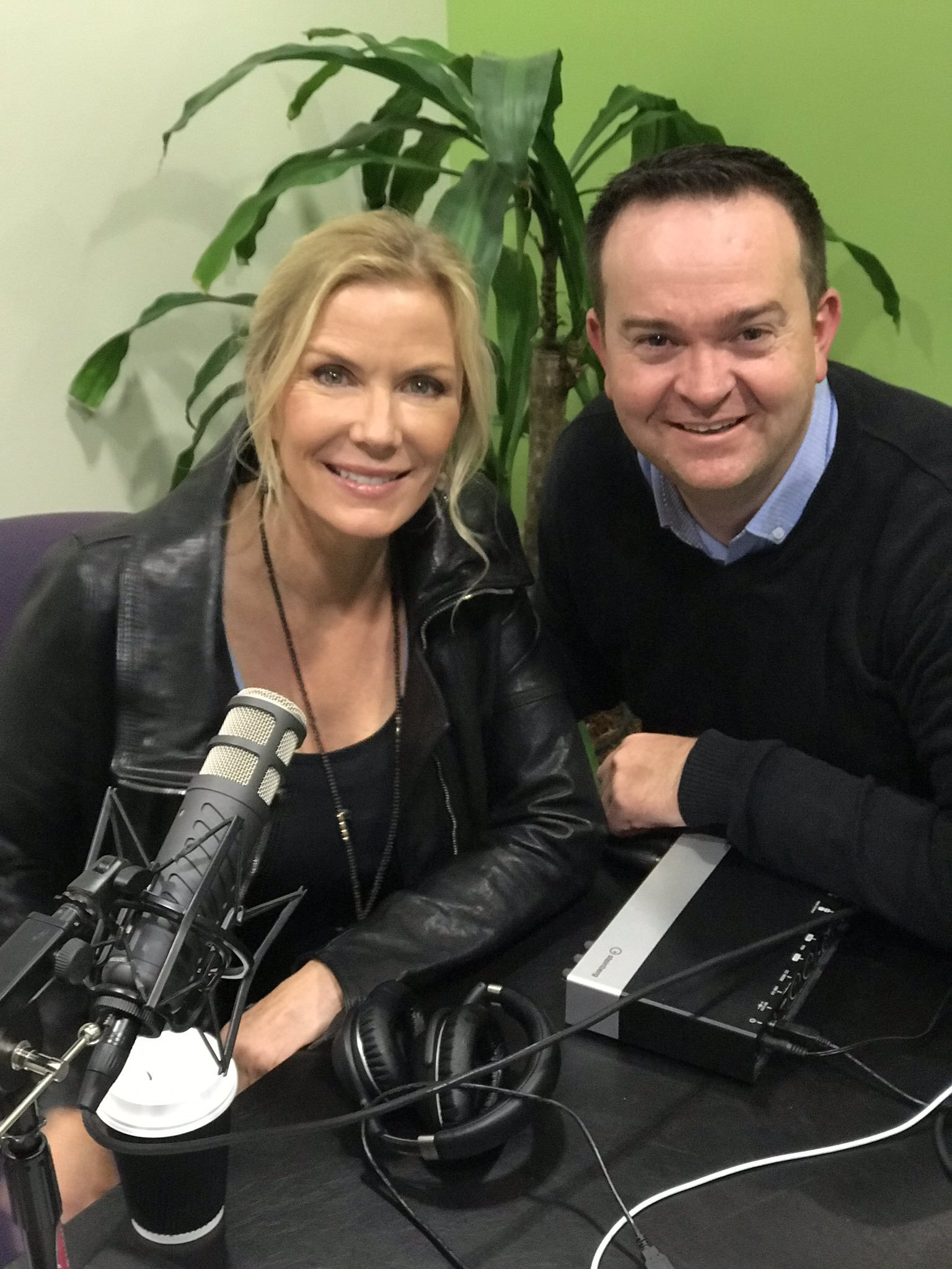 Katherine Kelly Lang  and  Robert McKnight  recording an episode of the  McKnight Tonight Podcast   Photo: Katherine Kelly Lang
