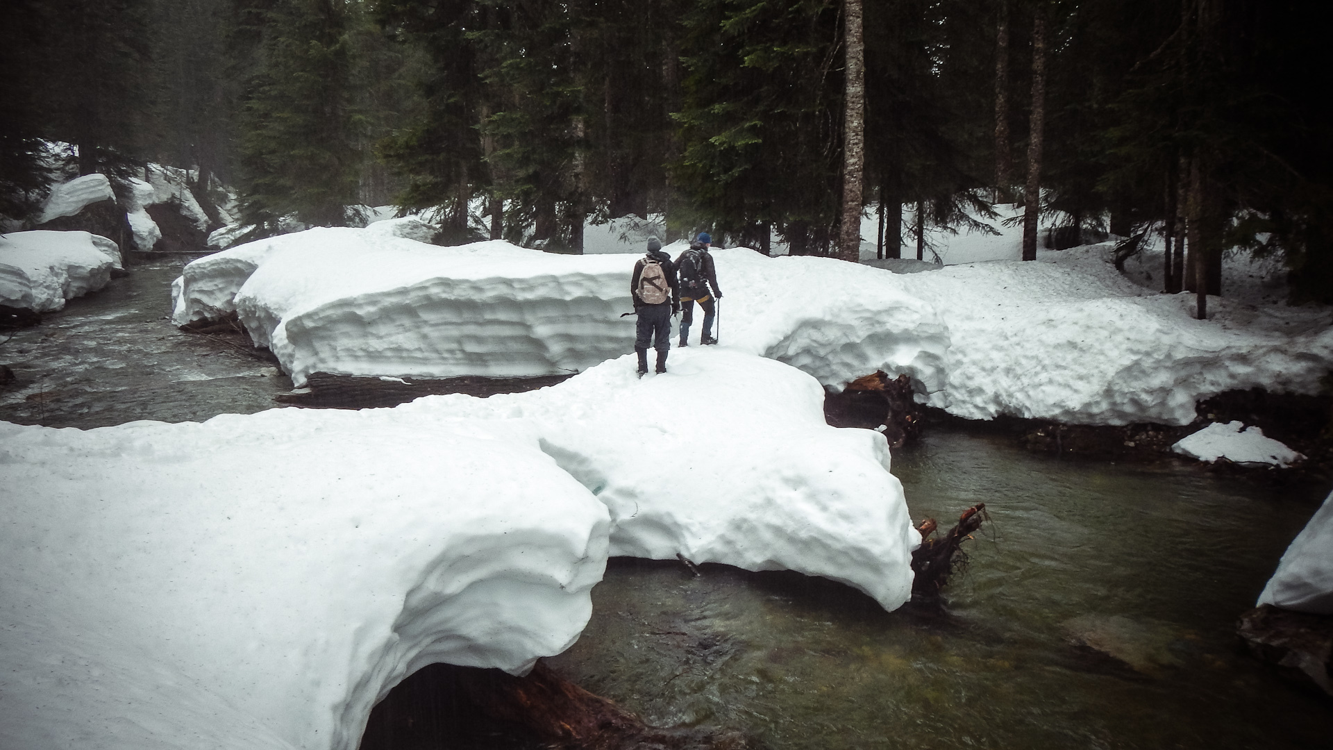 Hiking last year crossing a stable snow bridge across the Snoqualmie river